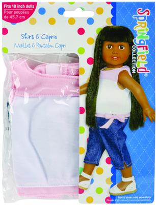 Doll Clothes Shirt and Capris- Pink and White/Denim