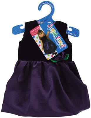 Doll Clothes Black Velvet and Purple Satin Dress