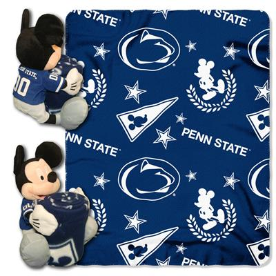 "Penn State College-Disney 40x50 Fleece Throw w/ 14"" Plush Mickey Hugger"