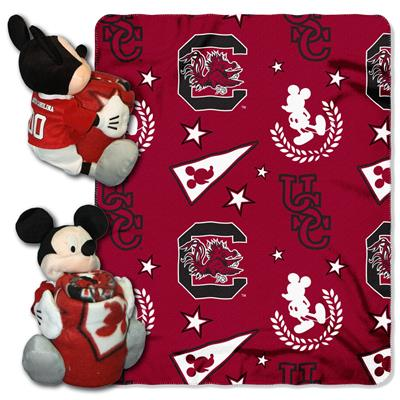 "South Carolina College-Disney 40x50 Fleece Throw w/ 14"" Plush Mickey Hugger"
