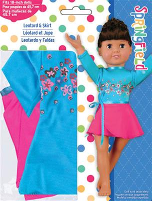 Doll Clothes- Leotard And Skirt-Pink/Blue