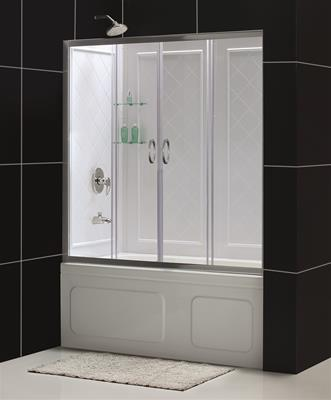 "DreamLine Visions 56 to 60"" Frameless Sliding Tub Door and QWALL-Tub Backwall Kit"