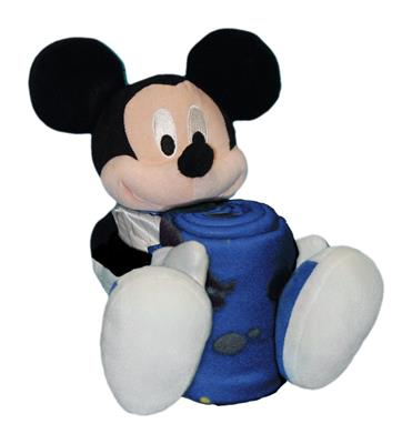 "Knicks -Disney 40x50 Fleece Throw w/ 14"" Plush Mickey Hugger"