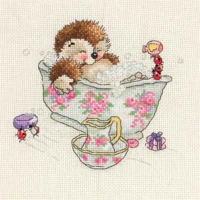 "Country Companions Bubble Bath Mini Counted Cross Stitch Kit-6""X6"" 16 Count"