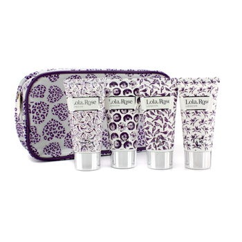 Calming Amethyst Travel Set: Shower Cream + Body Lotion + Hand & Nail Cream + Bubble Bath + Bag