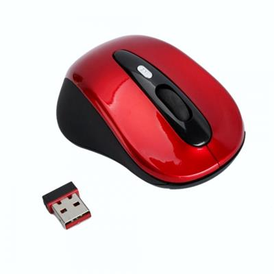 Red Wireless Optical Mouse