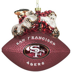 "San Francisco 49ers 5 1/2"" Peggy Abrams Glass Football Ornament"