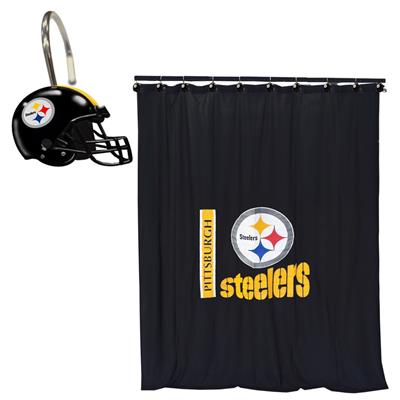 NFL Pittsburgh Steelers Bath Curtain Shower Rings Set