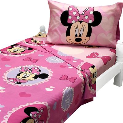 Minnie Mouse Twin Sheet Set Cameo Hearts Bedding