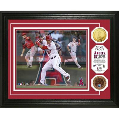 Mike Trout Triple Play Game Used Dirt Coin Photo Mint