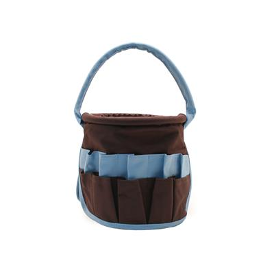 Small Round Stuff Bucket-Brown with Light Blue