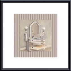 Champagne Bath I, framed black metal, white matte