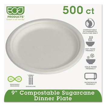 "Compostable Sugarcane Dinnerware, 9"" Plate, Natural White, 500/Carton"