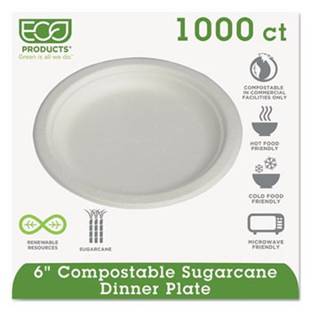 "Compostable Sugarcane Dinnerware, 6"" Plate, Natural White, 1000/Carton"