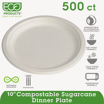 "Compostable Sugarcane Dinnerware, 10"" Plate, Natural White, 500/Carton"