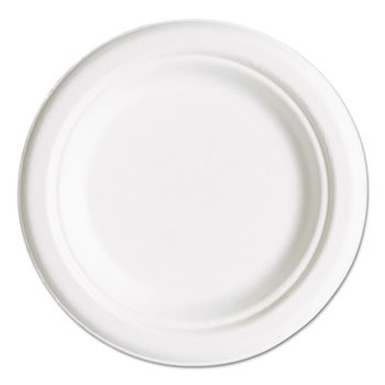 "Compostable Sugarcane Dinnerware, 6"" Plate, Natural White, 50/Pack"