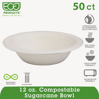 Compostable Sugarcane Dinnerware, 12oz Bowl, Natural White, 50/Pack