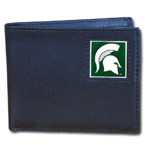 Michigan St. Spartans Leather Bi-fold Wallet in Gift Box
