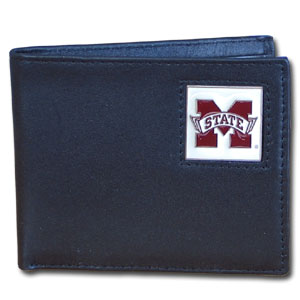 Mississippi St. Bulldogs Leather Bi-fold Wallet in Gift Box