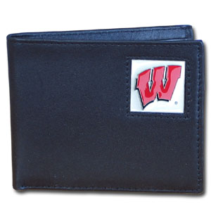 Wisconsin Badgers Leather Bi-fold Wallet in Gift Box