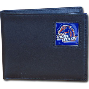 Boise St. Broncos Leather Bi-fold Wallet in Gift Box
