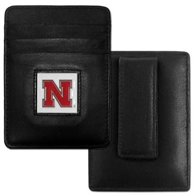 Nebraska Cornhuskers Leather Money/Clip Carholder
