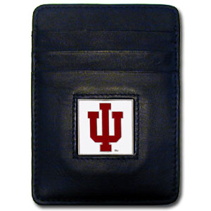 Indiana Hoosiers Leather Money/Clip Carholder