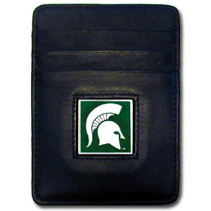 Michigan St. Spartans Leather Money/Clip Carholder