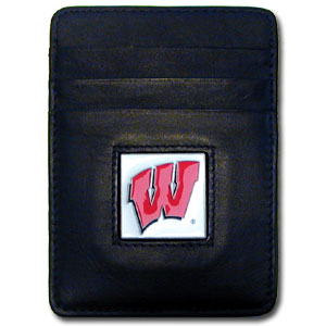 Wisconsin Badgers Leather Money/Clip Carholder