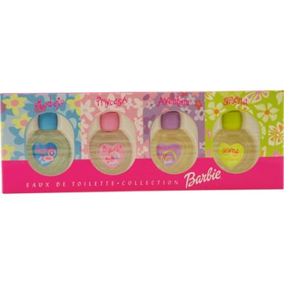 BARBIE VARIETY by Mattel 4 PIECE MINI VARIETY WITH BARBIE MODEL, BARBIE PRINCESA, BARBIE AVENTURA, BARBIE SIRENA & ALL ARE EDT .2 OZ MINIS
